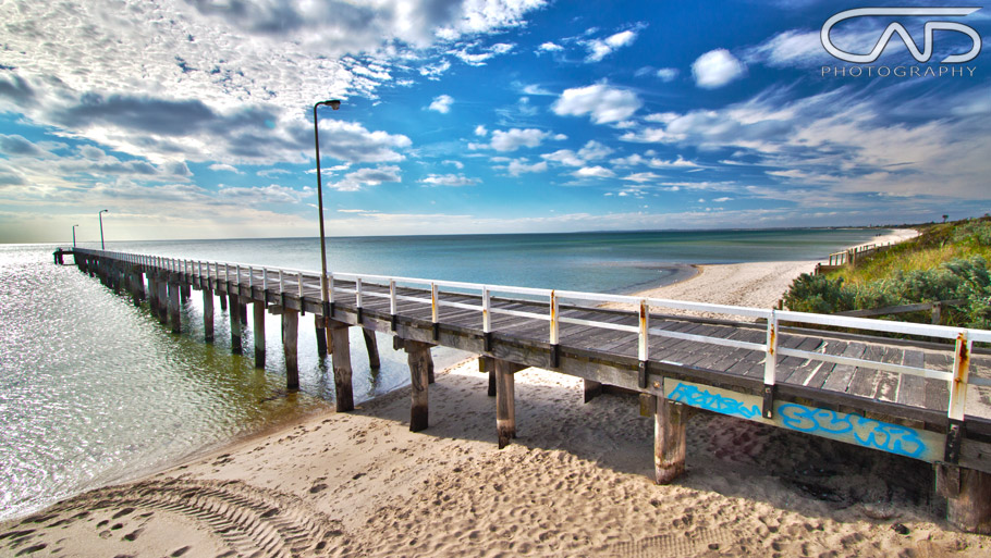 Photograph of Seaford Pier, Mornington Peninsula, Victoria, Australia, a daytime HDR shot.