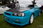 Teal Blue R34 Skyline on White Rims