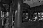 Abandoned Train inside photo black and white 1