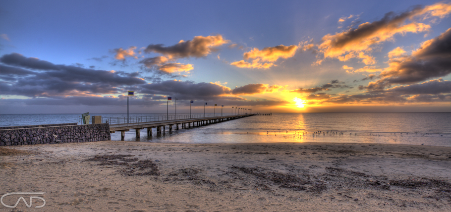 Frankston Pier sunset, at Mornington Peninsula, Melbourne, Victoria, Australia. Landscape and seascape.
