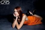 Studio Photo, girl inorange