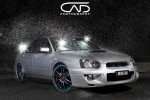 Subaru WRX Peanut Silver 18 Wheels bluewalls Studio water droplets rain