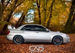 Subaru WRX Peanut Silver STI Spoiler 18 inch Wheels Bluewalls