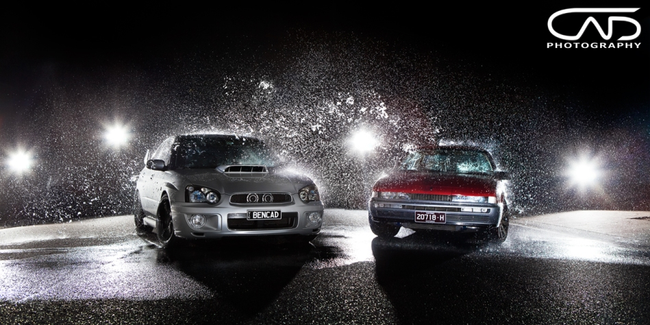 WRX GDB STI and Holden VL Turbo in water spray studio photoshoot.