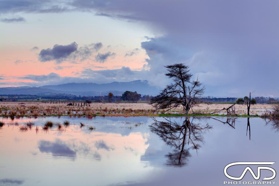 Sunset photograph taken in Yarra Glen near Healsville during the flooding that fills the flatlands